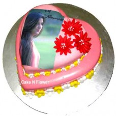 2 Layer Heart Shape Designer Cake